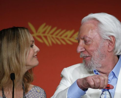 Jury members actress and singer Vanessa Paradis (L) and actor Donald Sutherland take part in a news conference before the opening. REUTERS/Yves Herman